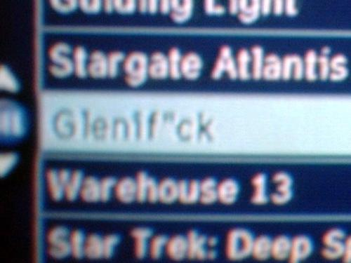 "Screen shot of how how Optimum identifies the Glenn Beck Show - ""Glenif*ck"""